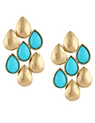 The Jewelbox Turquoise Blue Dew Drop Antique Gold Plated Earring