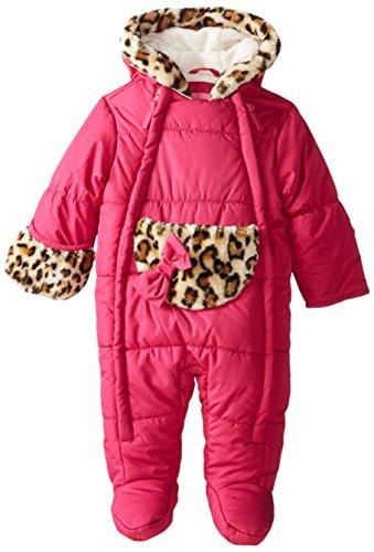 Wippette Baby-Girls Newborn Solid Leopard Micro Fiber Pram, Berry, 3-6 Months