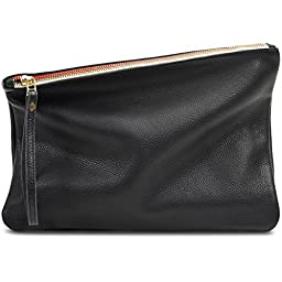 Leah Lerner Women Leather Clutch Black