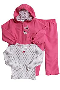Young Hearts Toddler Girls 3 Piece Hooded Jacket Polka Dot Shirt Pink Pants Set from Young Hearts