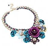 Modetrend damen bling-bling Schmuck Halskette mit blauen und roten Blumen Anhaengern statement Schmuck