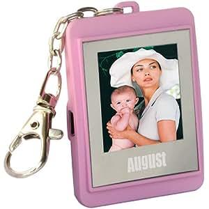 """August DP150B Mini cadre photo numérique 1,5"""" (3,8cm) en format porte-clés ou pendentif / Mémoire interne suffisamment large pour 107 photos / Plug & Play (pas besoin d'installer de pilote) / Couleur rose"""