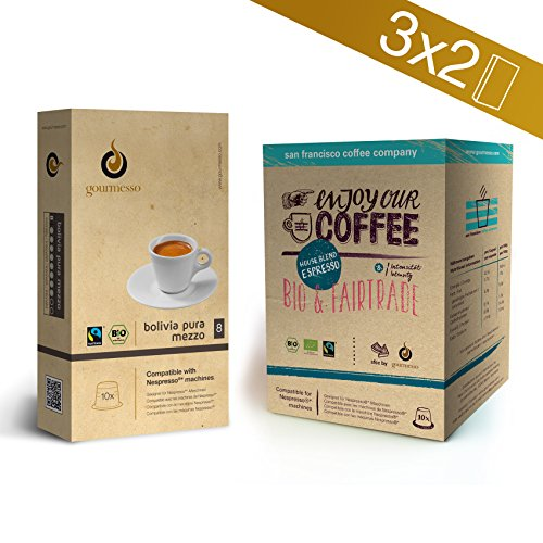 Purchase Gourmesso Bio&Fairtrade Bundle - 60 Nespresso®* Compatible Coffee Capsules by Gourmesso