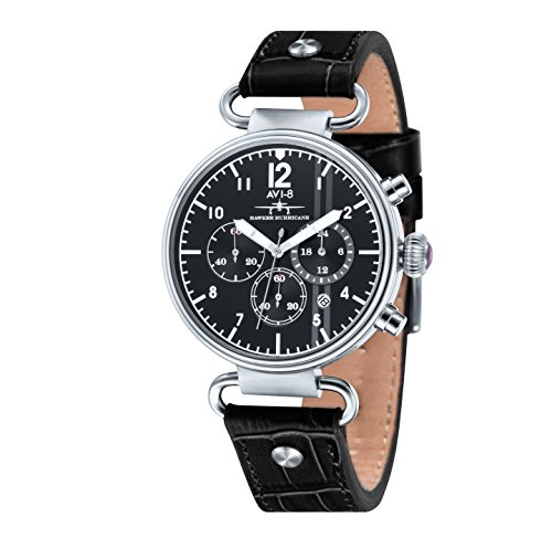 AVI-8 Hawker Hurricane Men's Quartz Watch with Black Dial Chronograph Display and Black Leather Strap AV-4014-01