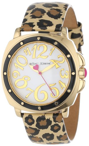 Betsey Johnson Women's BJ00044-09 Analog Leopard Printed Leather Strap Watch