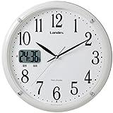 LANDEX(ランデックス) 電波壁掛け時計 ソクテル アナログ表示 常時点灯 温度湿度表示 ホワイト YW9113WH