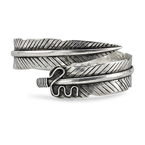 Forest Warrior Handmade Silver Adjustable Tribal Feather Arm Cuff Bracelet - Arm Cuff Jewelry for Women
