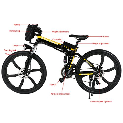 ancheer folding electric mountain bike with 26 inch wheel. Black Bedroom Furniture Sets. Home Design Ideas
