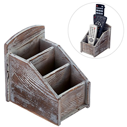 MyGift Rustic Wood Remote Control Caddy, 3 Slot Office Supply Storage Rack, Brown (Remote Control Caddy Wood compare prices)