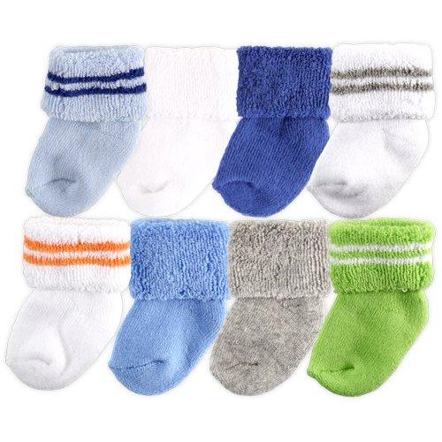 Luvable Friends 8 Pack Newborn Socks, Blue