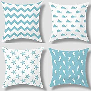 Decorative Pillows Beach Theme : Amazon.com - Howarmer? Canvas Decorative Throw Pillows Aqua Blue Decorative Pillows Beach Theme ...