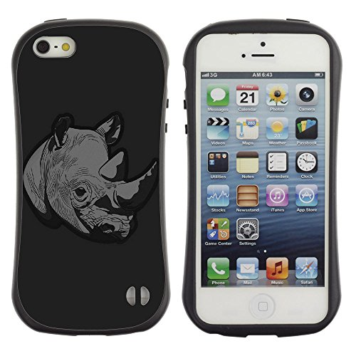 [Planetar] iFace Series Soft Tpu Skin Bumper Case Cover For Apple Iphone 5 / 5S [Thoughtful Rhino Dark Minimal Illust Art Parallax] (Rhino Shield Bumper Iphone 5s compare prices)
