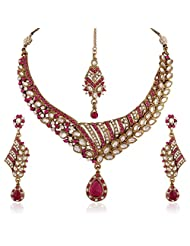 I Jewels Traditional Gold Plated Elegantly Handcrafted Kundan Jewellery Set With Maang Tikka For Women K7055Q...