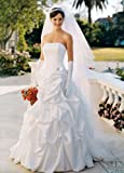 David's Bridal Wedding Dress: Satin pick-up ballgown with corset bodice and brooch detail. Style T9104