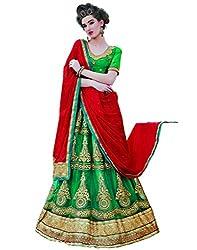 DesiButik's Wedding Wear Lovely Rama Green Net Lehenga