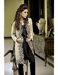 1 Stop Fashion Beige & Black Party Wear Straight Pant Salwar Kameez