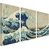 Art Wall 3-Piece The Great Wave Off Kanagawa by Katsushika Hokusai Gallery Wrapped Canvas Artwork, 36 by 54-Inch
