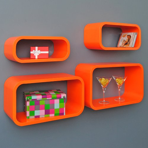 4er-Set-Lounge-Regal-Design-Retro-70er-Cube-Wandregal-Hngeregal-Regalwand-lngliche-Form-in-Orange