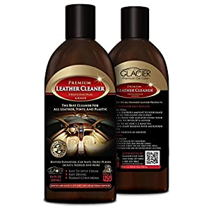 Leather Cleaner - All Natural Professional Grade - Top Quality Leather & Upholstery Cleaner for Automotive, Shoes, Furniture, Purses, Jackets & More - Great for Distressed or Exotic Leather - Conditioner Added & Citrus Scented - 250ml Comes with Applicator Glove
