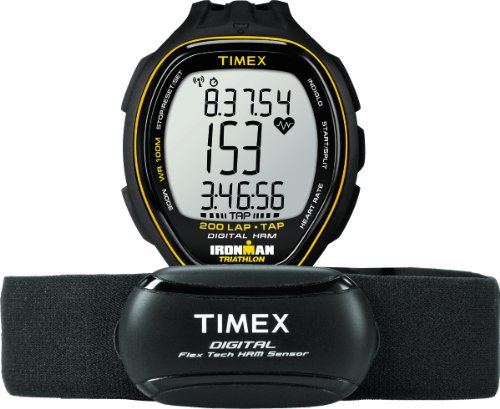 Timex T5K726F5 Men's Ironman Target Trainer TapScreen Heart Rate Monitor with Resin Strap Watch, Black/Yellow, Full-Size