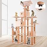 JakoCat Katzenbaum extra Groß XXL Kratzbaum Spielbaum in Beige mit Vielen Großen Aussichtsplätzen und Höhlen und mit Quick-Connect Verbindung in Verschiedenen Grösen