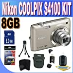 COOLPIX S4100 14 MP Digital Camera with 5x NIKKOR Wide-Angle Optical Zoom Lens and 3-Inch Touch-Panel LCD (Silver) + 8GB SDHC Memory + USB Card Reader + Memory Card Wallet + Shock Proof Deluxe Case + Accessory Saver Bundle!