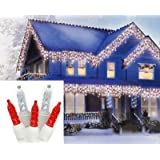 Set of 70 Red and Cool White LED M5 Icicle Christmas Lights - White Wire