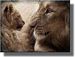 On Wood: Lion and Cub Picture on Wood, Wall Art Décor, Ready to Hang!