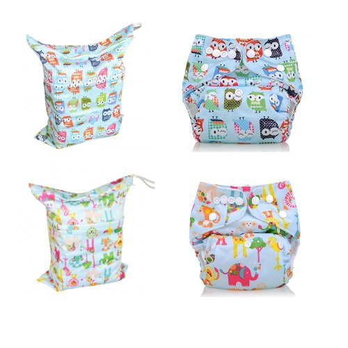 Baby Washable One Size Cloth Pocket Diaper And Wet/Dry Bag Set, 4 Packs