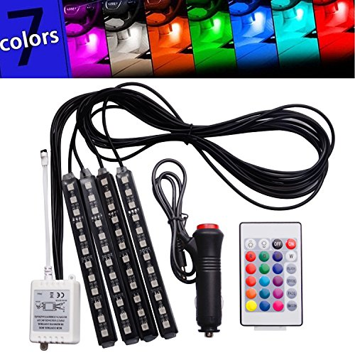 FICBOX 7 Color 48 LED Car Interior Floor Decorative Atmosphere Lights Strip Waterproof Glow Neon Decoration Lamp with Wireless Remote Control and Car Charger (Car Color Led Lights compare prices)