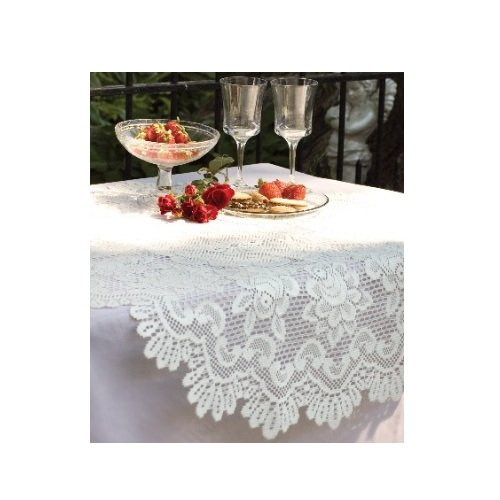 Heritage lace rose 30 inch round table topper off white for Off white round table