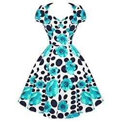 Hearts and Roses London Blue Floral Polka Dot Vintage 50s Rockabilly Prom Dress