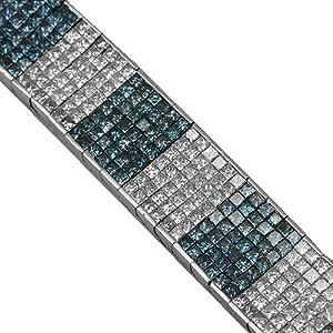 14K White Gold Mens Blue Diamond Bracelet 28.45 Ctw