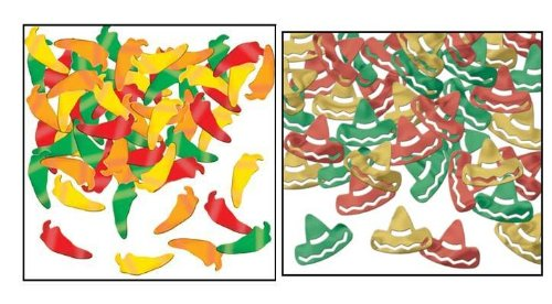 Chili Peppers and Sombreros Fanci Fetti/FIESTA/CINCO DE MAYO Party Supplies and Table Decorations/Confetti
