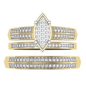 0.30 Carat (ctw) 14K Yellow Gold Round Cut Diamond Men & Women's Trio Bridal Set 1/3 CT (Size 10)