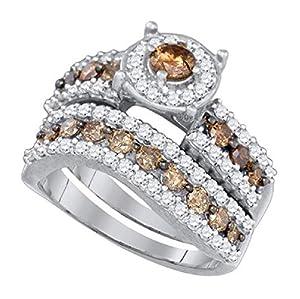 1.7 cttw 10k White Gold Cognac Brown Diamond Round Halo Wedding Ring Set Bridal Rings ((L0850) Womens Size 8.5)