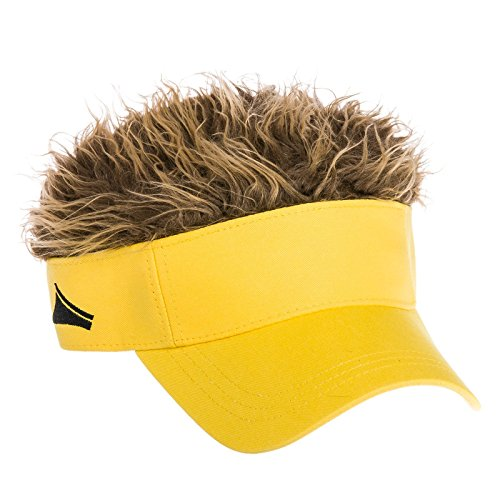 645bf9c8ca0 Flair Hair - Mens Original Yellow Hat With Brown Hair Velcro Adjustable  Visor