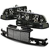 Chevy S10/Blazer GMT 325/330 Headlight (Smoke Lens)+Front Grille (Black)