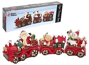 Snow White Kids Christmas Train Set Ornament, Red: Amazon ...