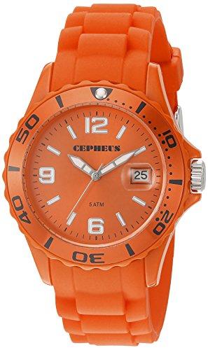 Cepheus Women's Quartz Watch with Orange Dial Analogue Display and Orange Silicone Strap CP603-090E