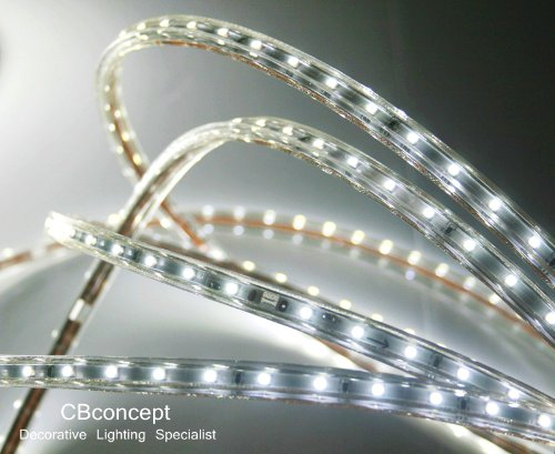CBConcept® Pure White 120 Volt LED SMD3528 Flexible Flat LED Strip Rope Light - [Christmas Lighting, Indoor / Outdoor rope lighting ,Ceiling Light, kitchen Lighting] [Dimmable] [Ready to use] [3/8