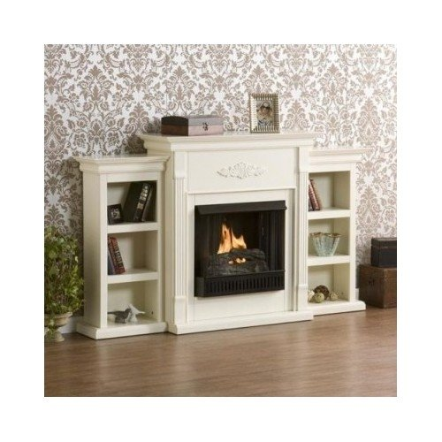 Indoor Home Gel Fireplace Mantel Heater Ivory With Two Side Display Book Cases