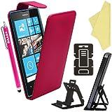 BAAS® Coque Nokia Lumia 520 Rose Etui Cuir Clapet Housse + Film de Protection d'Ecran + Stylet Pour Ecran Tactile Capacitif