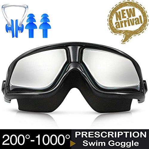 Schwimmbrillen, ZIONOR Manatee G3 Optische Schwimmbrille Kurzsichtigkeit Spiegel Schwimmmaske mit 100% UV-Schutz Anti-Beschlag wasserdichte für Unisex Erwachsene Männer Frauen Jugendliche mit KOSTENLOSER Schutzhülle Nasenklammer Ohrstöpsel (Dioptrien -2.0 bis -10.0)