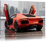 portes d'orange Lamborghini sur la toile, format XXL support en bois, Leinwand Format:80x60 cm