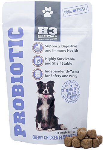 H3 Essentials - Probiotics for Dogs - Improves Upset Stomach, Diarrhea and Breath - Chicken Flavored Treats - 60 Count