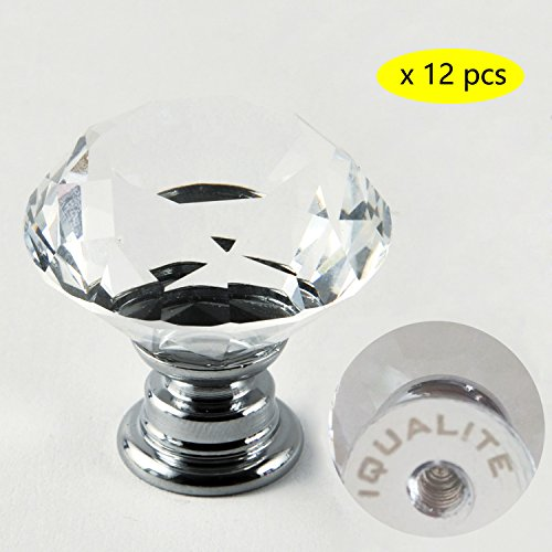 IQUALITE 12pcs Diamond Shape Crystal Glass 30mm Drawer Knob Pull Handle Usd for Caebinet, Drawer (Furniture Knobs And Pulls compare prices)