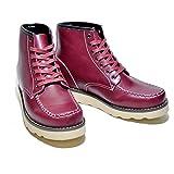 7cmアップ 低反発ソールで疲れにくい モックトゥ ブーツ シークレットブーツ レッドウィング風 アイリッシュセッター風 男性用 身長アップシューズ ヒールアップシューズ 背が高くなる靴 コスプレ にも (Sサイズ:25~26cm, WINE RED ワインレッド)