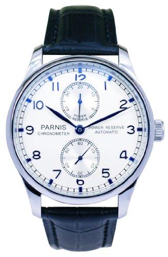 PARNIS Automatik Herrenuhr Modell 2017, mechanische Armbanduhr, SeaGull Uhrwerk, automatischer Aufzug, Herrenuhr, Edelstahl, Lederarmband, von LIV MORRIS