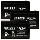 3x Pack - Fisher 212Z ISOTEMP FREEZER Battery - Replacement UB1270 Universal Sealed Lead Acid Battery (12V, 7Ah, 7000mAh, F1 Terminal, AGM, SLA) - Includes 6 F1 to F2 Terminal Adapters
